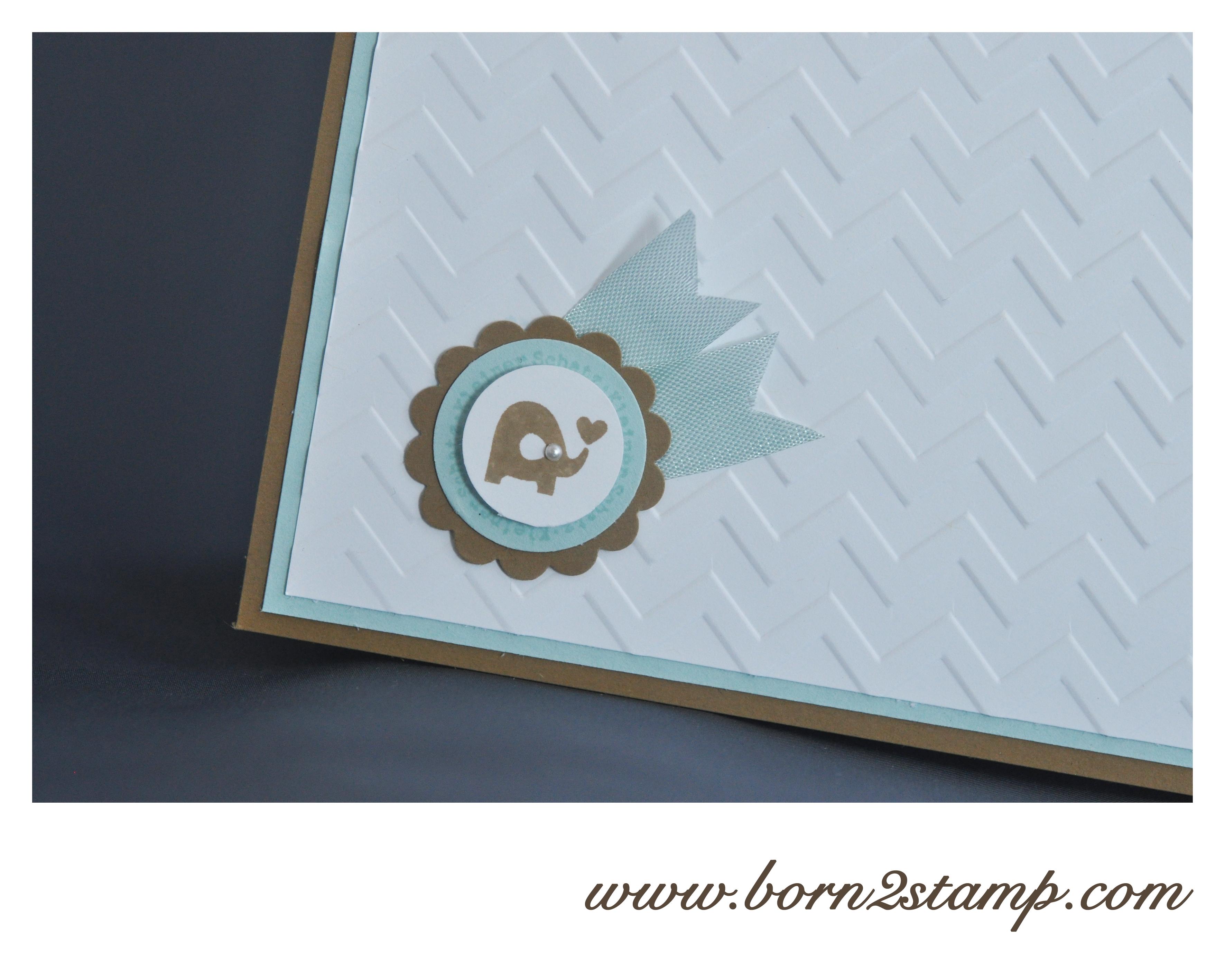 Stampin' UP! Babykarte mit Ein Gruß für alle Fälle und Big Shot Zickzack Prägefolder