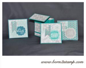 Stampin' UP! Inkspiration weeks Projekt mit DSP Eiszauber und Tüpfelchen auf dem Geschenk und passender Stanze Edles Etikett