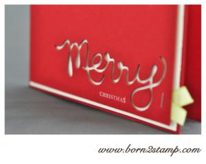 Stampin' UP! Weihnachtskarte mit den Thinlits Dies Worte und Joyous Celebrations