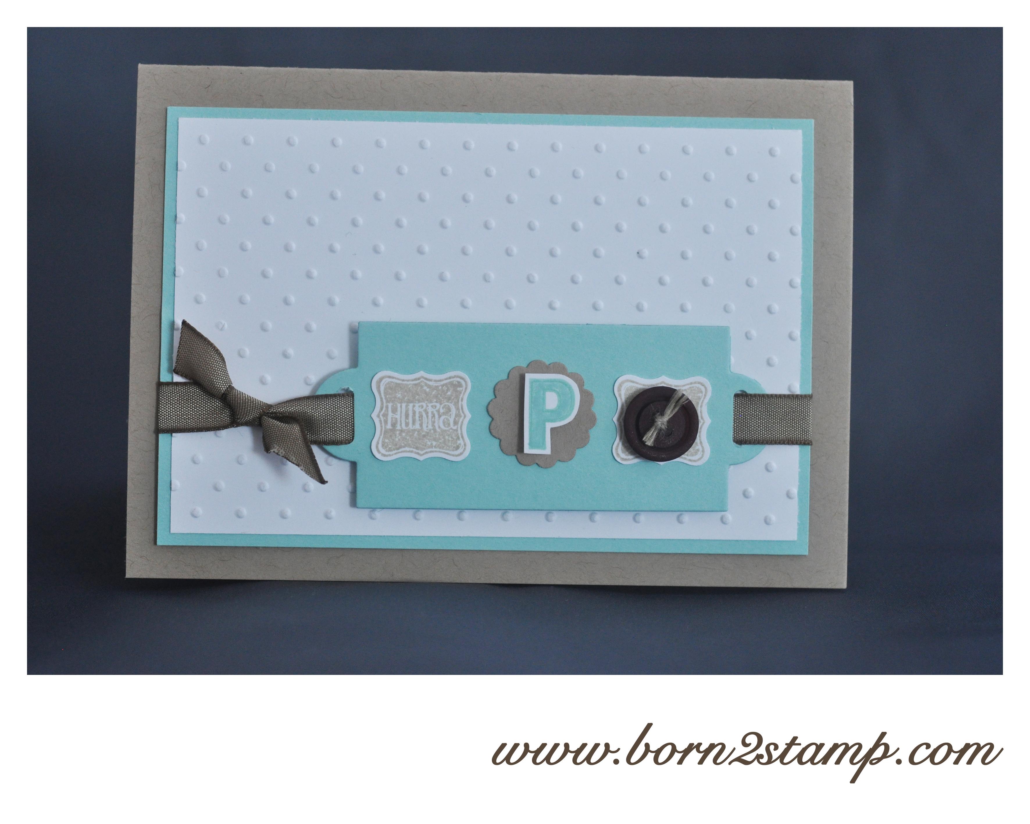 Stampin' UP! Babykarte mit Klein aber fein und Outline Alpha & Numbers