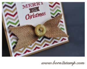 Stampin' UP! Weihnchtskarte mit Merry little Christmas und Juteband und DSP Stilmix