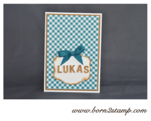 Stampin' UP! Babykarten mit Outline Alpha und Big Shot Framelits Deco Labels