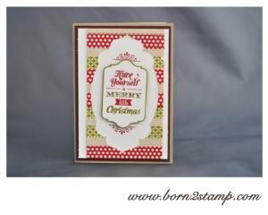 Stampin' UP! Weihnachtskarte mit Merry little Christmas und Framelits Chalk talk und Framelits Nostalgische Etiketten