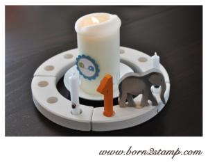 Elefantenparty Kerze