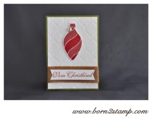 Stampin' UP! Weihnachtskarte mit Ornament Keppsakes und Grüße zum Fest und Prägefolder Modernes Mosaik
