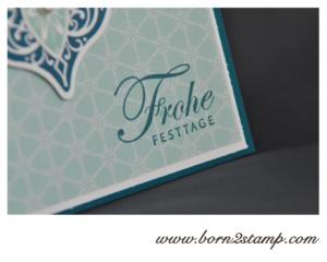 Stampin' UP! Weihnachtskarte mit Ornament keepsakes und Grüße zum Fest und DSP Eiszauber
