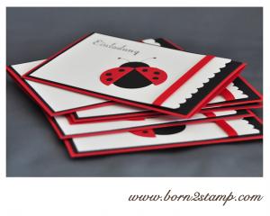 Stampin' UP! Kindergeburtstagseinladung mit Marienkäfer / lady bug invitation