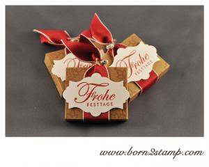 Stampin' UP! RitterSport Mini Verpackung mit Grüße zum Fest