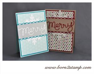 STAMPIN' UP! Weihnachtskarte mit Thinlits Worten und Framelits Flockentanz und DSP Stilmix und DSP Eiszauber