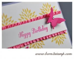 STAMPIN' UP! Geburtstagskarte mit Petal Parade und Bring on the Cake und beiden Schmetterlingsstanzen 2