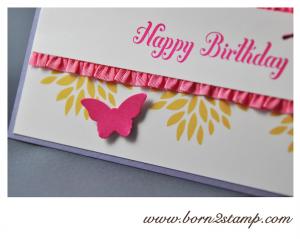 STAMPIN' UP! Geburtstagskarte mit Petal Parade und Bring on the Cake und beiden Schmetterlingsstanzen 3