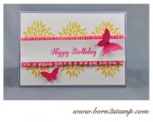 STAMPIN' UP! Geburtstagskarte mit Petal Parade und Bring on the Cake und beiden Schmetterlingsstanzen