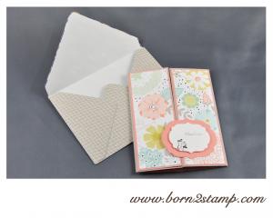 STAMPIN' UP! Geburtstagskarte mit SAB 2014 DSP und See ya later und Kleine Wünsche und Make a Cake inkl. Umschlag mit Envelope Punch Board 1