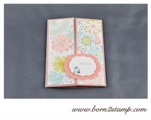 STAMPIN' UP! Geburtstagskarte mit SAB 2014 DSP und See ya later und Kleine Wünsche und Make a Cake inkl. Umschlag mit Envelope Punch Board 2