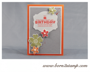 STAMPIN' UP! Geburtstagskarte mit SAB See ya later und Flower Shop und Petite Petals und Gorgeous Grunge und Framelits Deco Labels