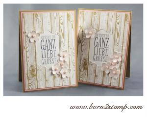 STAMPIN' UP! Grußkarte mit Wimpeleien, Petite Petals, Hardwood, Stanze Kleine Blüte und Framelits Chalk Talk