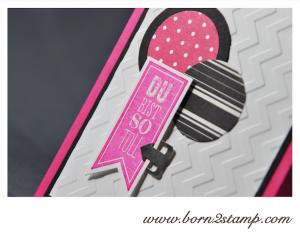 STAMPIN' UP! Karte mit Wimpeleien und Banner Framelits und Metallclips Grundelemente und DSP Potpourri in Schwarz-Weiß und DSP Farbkollektion Signalfarben