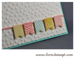 STAMPIN' UP! Valentinskarte mit Banner Blast : Im Fähnchenfieber und Punktemeer und Wimpelstanze und Kordel