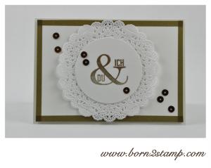 STAMPIN' UP! Karte mit Wimpeleien und Pailletten und Goldfarbe und Spitzendeckchen und Washi Farbenwunder zur INKSPIRE_me #134