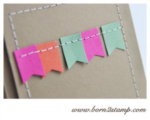 STAMPIN' UP! Geburtstagskarte mit Ein duftes Dutzend und Fähnchen Stanze