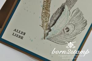 STAMPIN' UP! Geburtstagskarte mit Fine Feathers und Gorgeous Grunge und SAB Etwas ganz Besonderes