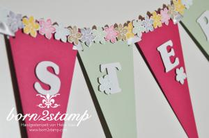 STAMPIN' UP! Ostergirlande mit Petite Petals und Stanze Kleine Blüte und Spiralblume 3