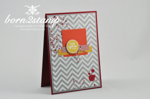 STAMPIN' UP! Karte mit Gorgeous Grunge und Starburst Sayings und Starburst Framelits und Positively Chevron