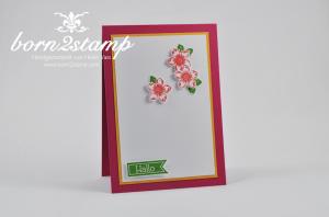 STAMPIN' UP! Karte mit Wimpeleien und Petite Petas und Stanze Kleine Blüte