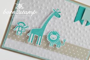 STAMPIN' UP! Karte mit Zoo Babies und Fähnchenstanze und Banners Framelits