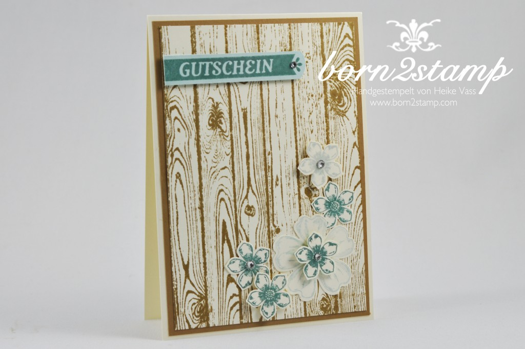 STAMPIN' UP! Karte mit Hardwood und Flower Shop und Petite Petals und Kartenset Für viele Anlässe