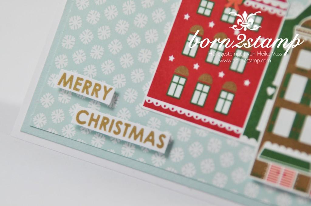 STAMPIN' UP! Weihnachtskarte DSP Nordische Weihnacht Wishing you Stanze Kleine Blüte