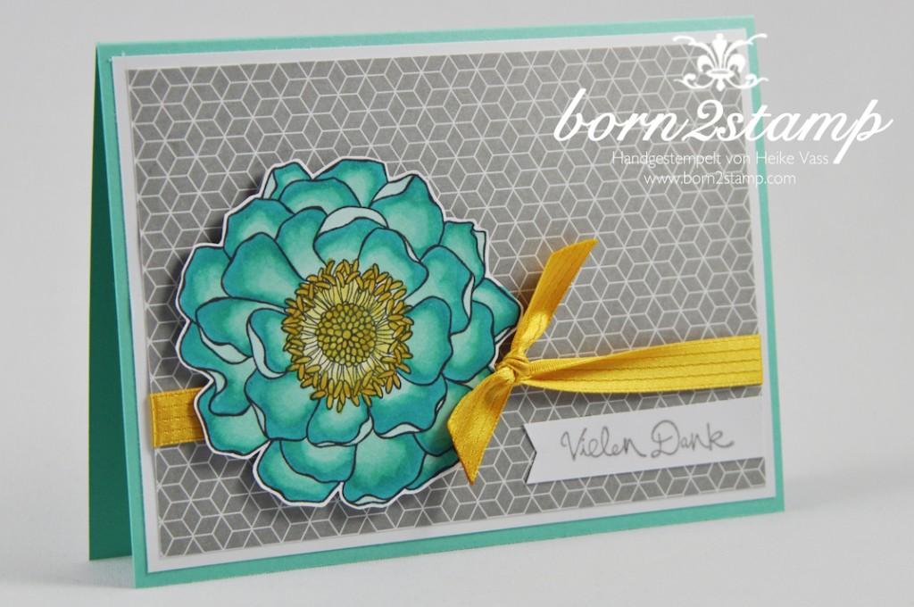 STAMPIN' UP! Dankeskarte Blended Bloom Gesammelte Gruße Fahnchenstanze
