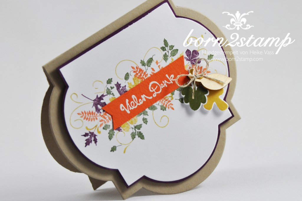 STAMPIN' UP! Dankeskarte Seasonally Scattered Gesammelte Gruesse Fall Fest Fun Fall Framelits Art Deco Framelits Holzelemente Herbst