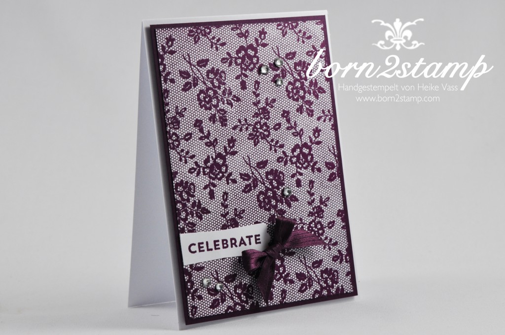 STAMPIN' UP! Grußkarte I love lace Celebrate Baby Stanze Modernes Label