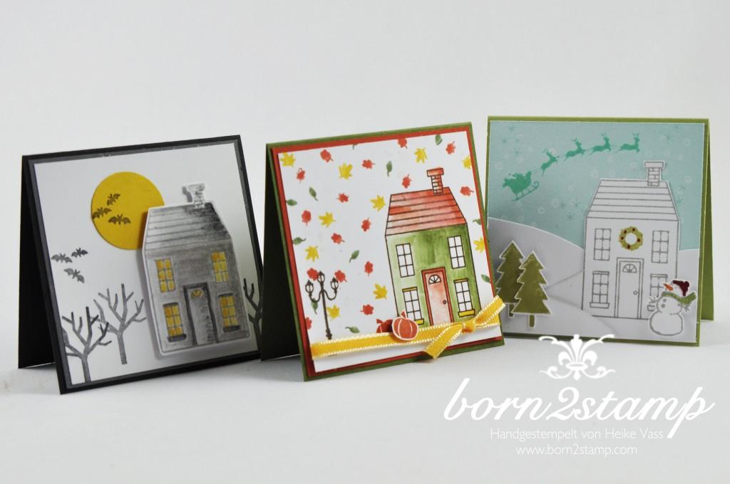 STAMPIN' UP! Minikarten Halloweenkarte Herbstkarte Weihnachtskarte Aus dem Hauschen Weiße Weihnacht