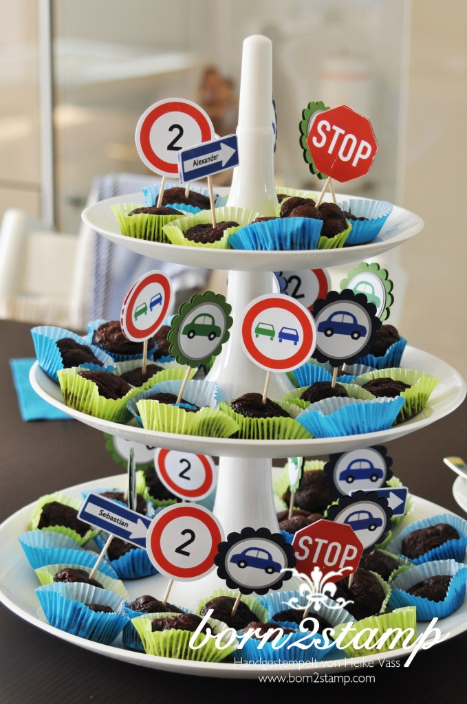 Auto Party Geburtstag Birthday Car theme Deko decoration Muffinstecker Cupcake
