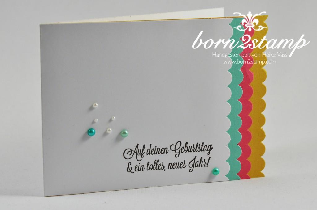 STAMPIN' UP! Geburtstagskarte Dein Tag! Basic Perlenschmuck Mix Marker Wellenkantestanze