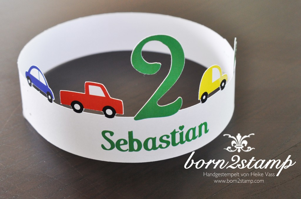 STAMPIN' UP! Geburtstagskrone birthday crown Autoparty car themed party
