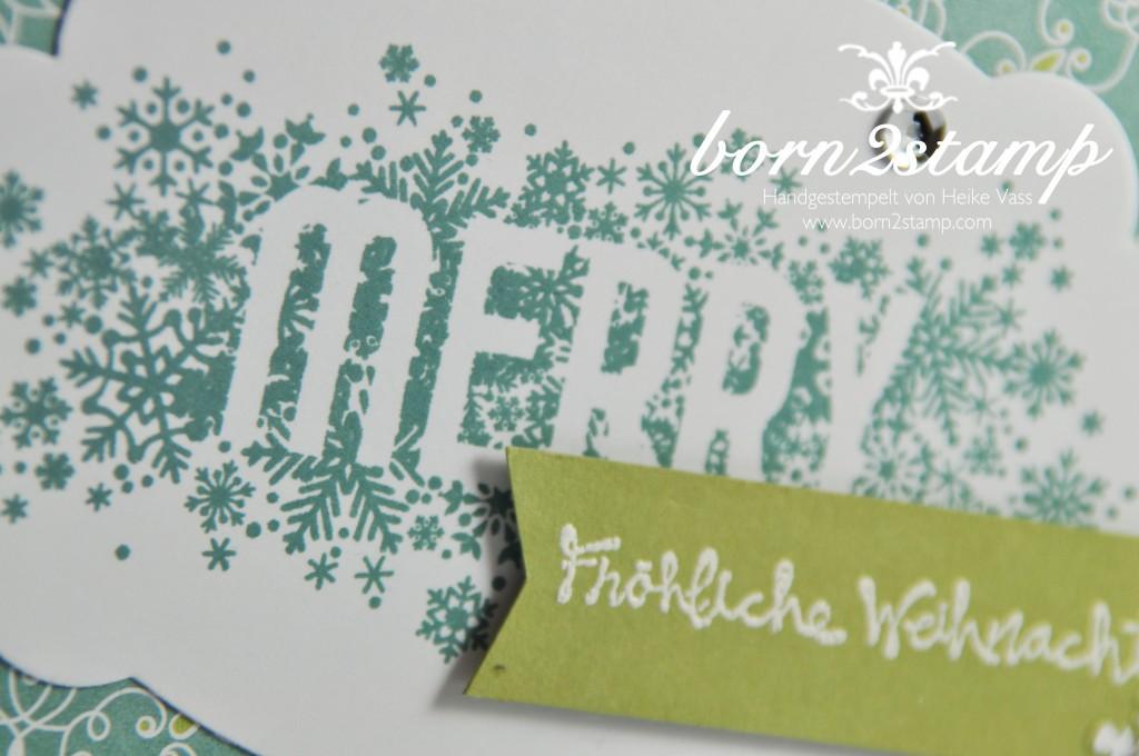 STAMPIN' UP! Weihnachtskarte DSP Stille Nacht Accessoires Eisglitzer Gesammelte Grüße Seasonall Scattered Framelits Nostalgische Etiketten