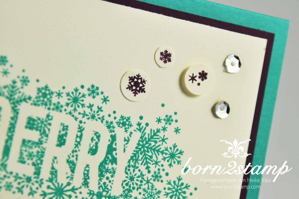 STAMPIN' UP! born2stamp Weihnachtskarte Seasonally Scattered Pailletten Eisglitzer Kreisstanze