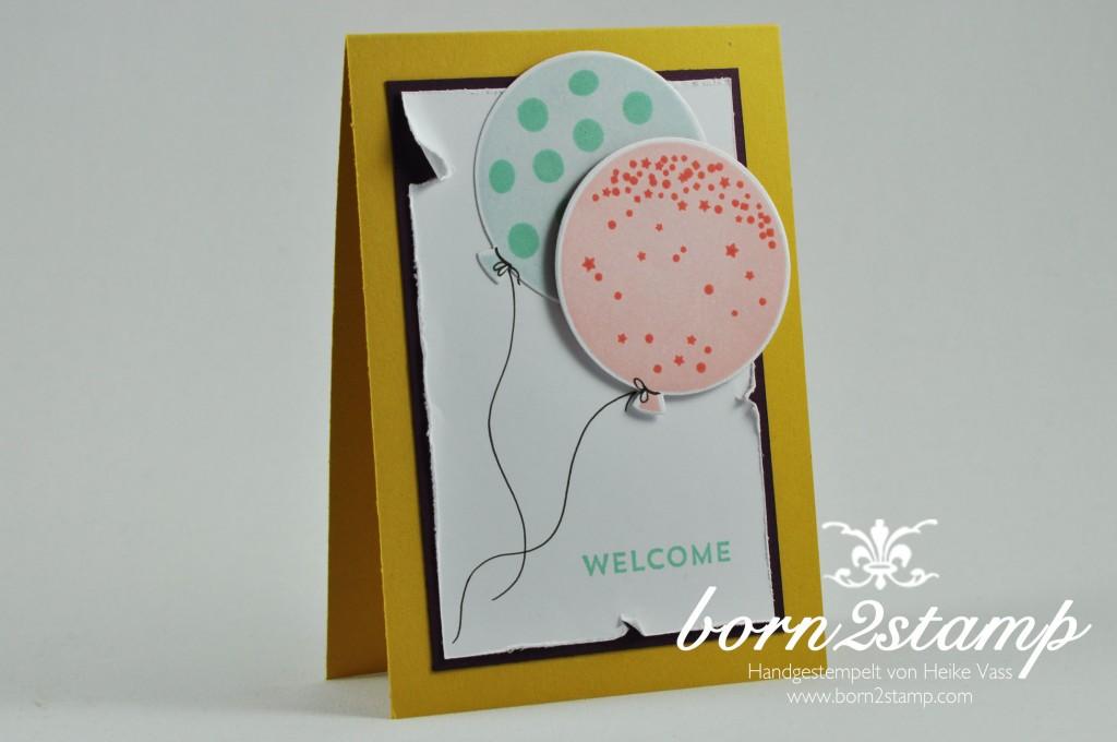 STAMPIN' UP! born2stamp Willkommenskarte Wir feiern Celebrate Baby Balloon Framelits Werkzeug fuer Antikeffekte