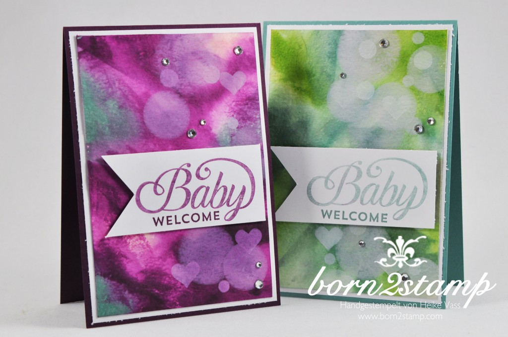 STAMPIN' UP! born2stamp Babykarte Celebrate Baby Aquarellpapier Bokeh Itty Bitty Akzente