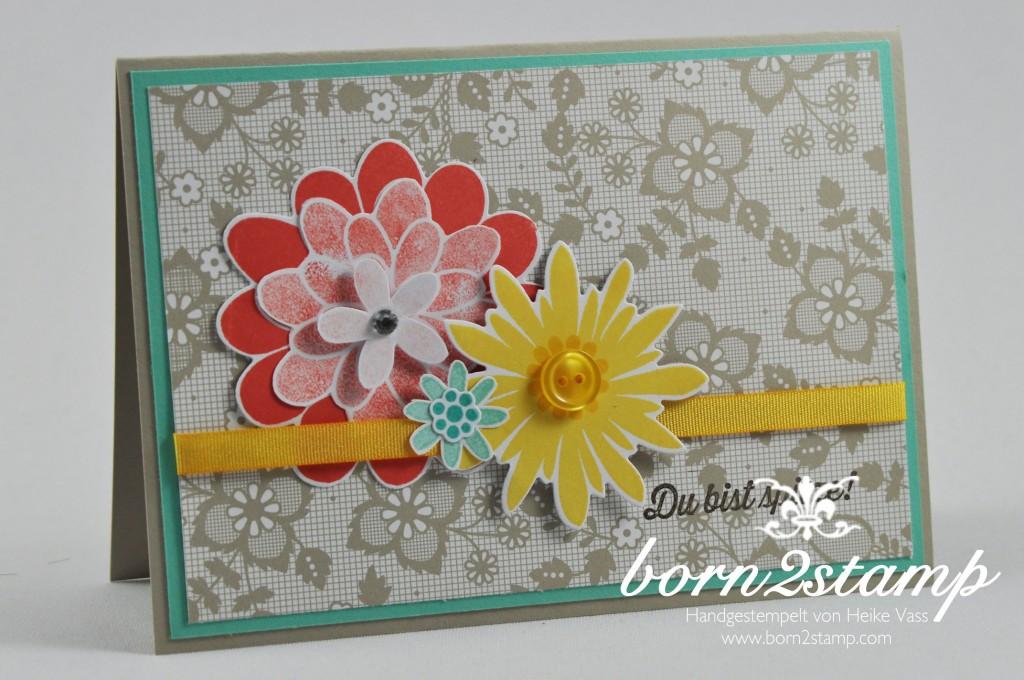 STAMPIN' UP! born2stamp Geburtstagskarte Flower Patch Flower Fair Framelits Wie Du bist Accessoires Die schoenste Zeit