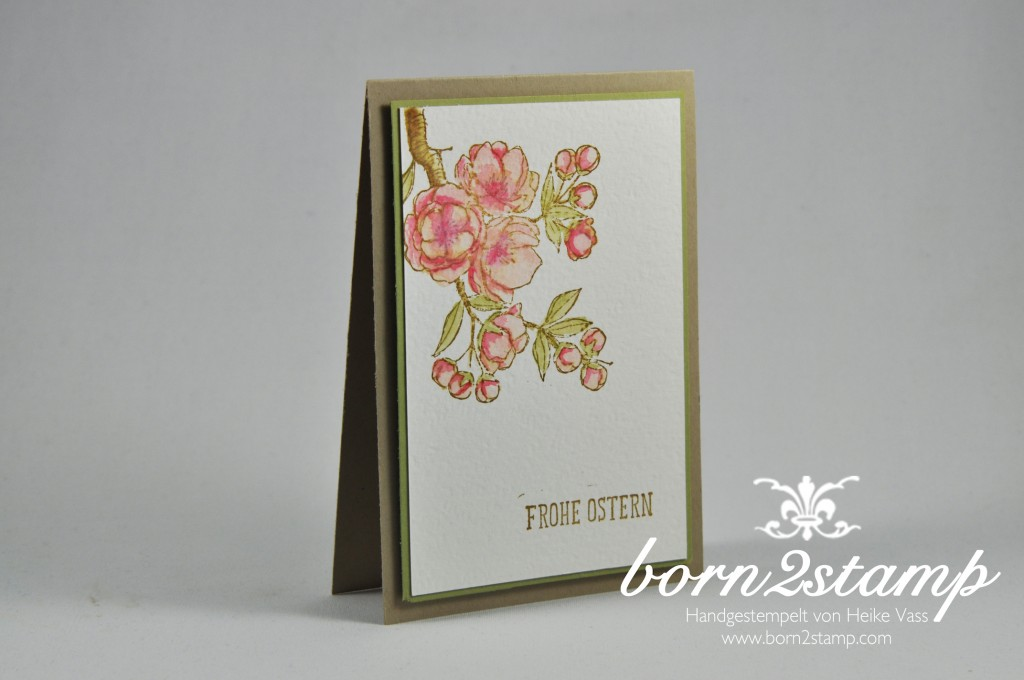 STAMPIN' UP! born2stamp Osterkarte easter Frohe Osterbotschaft Aquarellpapier Aqua Painter
