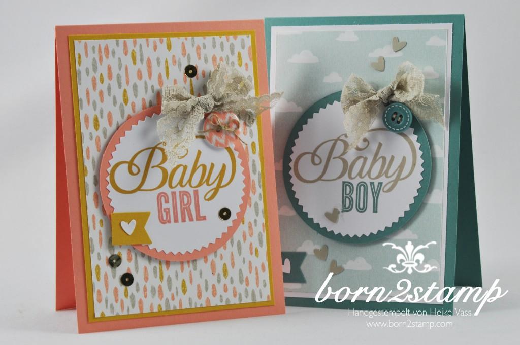 STAMPIN' UP! born2stamp Babykarte - Celebrate Baby - Faehnchenstanze - Starburst Framelits - Spitzenband - DSP Suesse Traeume - Knoepfe Suesse Traume