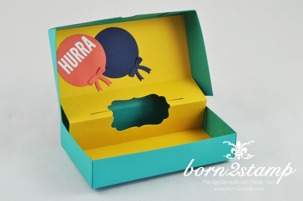 STAMPIN' UP! born2stamp Box DSP Geburtstagsparty - Fischgraetband - Faehnchenstanze - Wir feiern