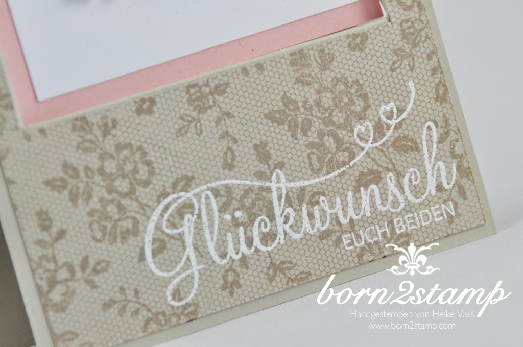 STAMPIN' UP! born2stamp Hochzeitskarte - I love lace - Perfekter Tag - Itty bitty Akzente - Strassschmuck - recessed window card