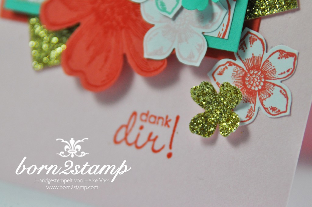 STAMPIN' UP! born2stamp IN{K}SPIRE_me Dankeskarte - Petal Potpourri - Flower Shop - Petite Petals - Perfekte Paerchen - Gold Metallic Thread