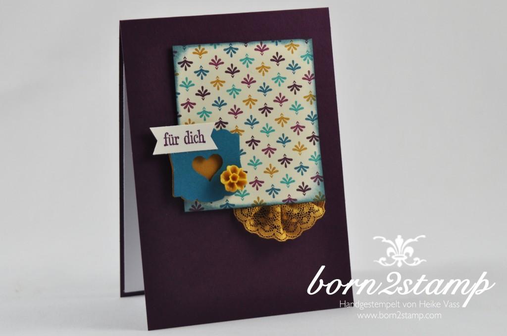 STAMPIN' UP! born2stamp Karte DSP Boheme - Puenktchen-Spitzenband - Geburtstagsgruesse für alle - Itty bitty Akzente - Designeretikett - Faehnchenstanze