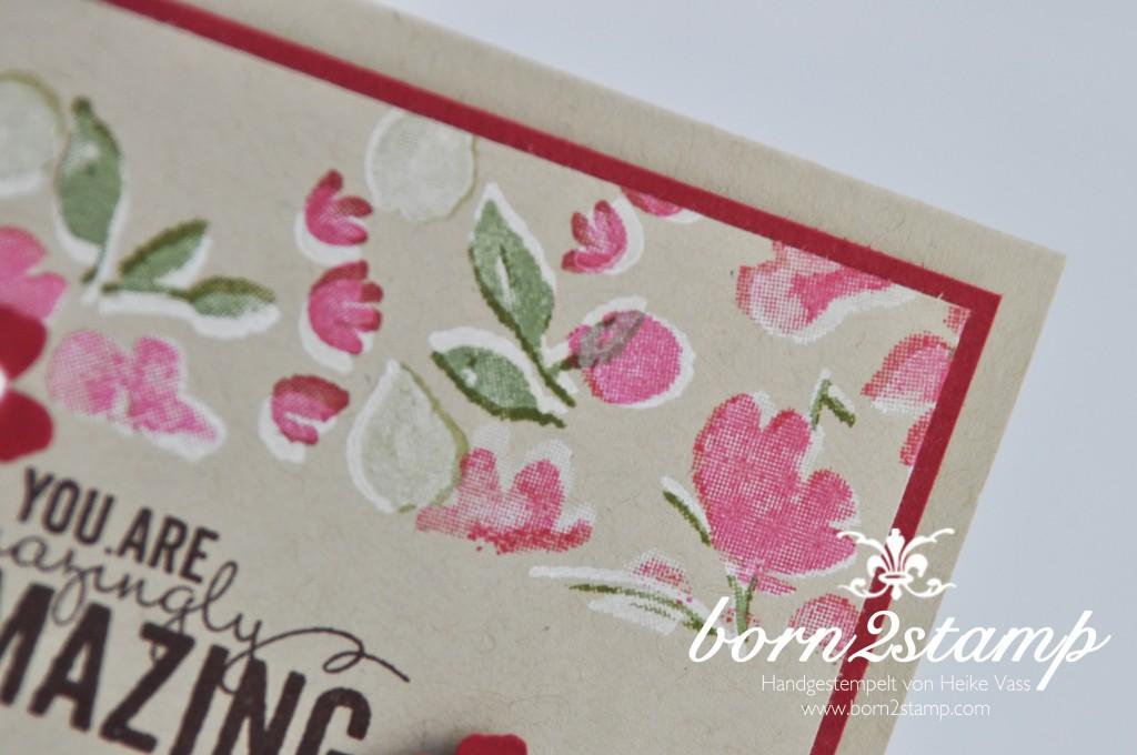 STAMPIN' UP! born2stamp Karte Painted Petals - Itty bitty Akzente - Perlenschmuck - weiß